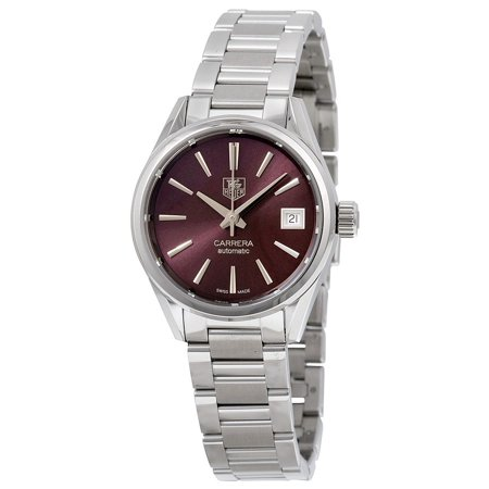 Tag Heuer Carrera Automatic Calibre 9 Burgundy Dial Stainless Steel Ladies Watch WAR2417.BA0776