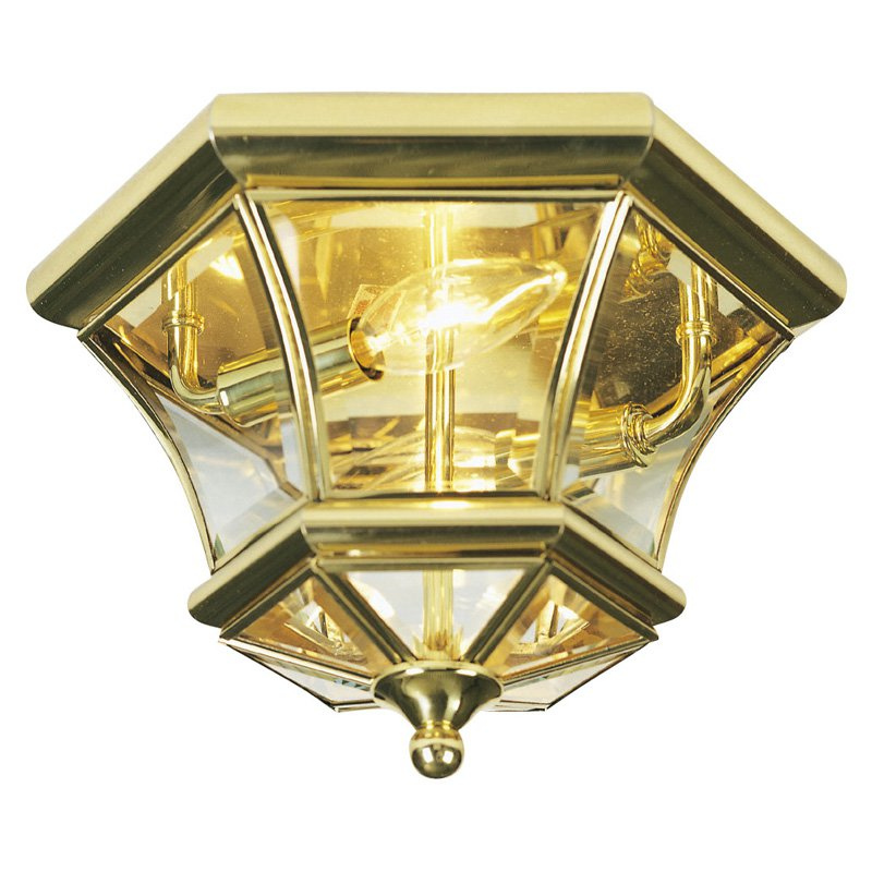 Livex Monterey 7052-02 Outdoor Ceiling Light - 7H in. Polished Brass