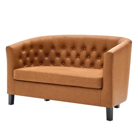 Modern Contemporary Urban Design Living Room Lounge Club Lobby Loveseat Sofa, Faux Vinyl Leather, Tan (Contemporary Living Room Loveseat)