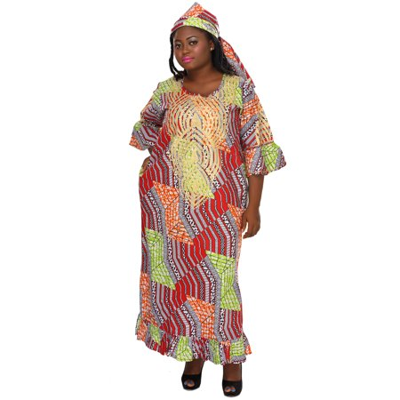 African Planet Women's Swahili Queen Cleopatra African Maxi Printed Dress Red - Cleopatra Dress