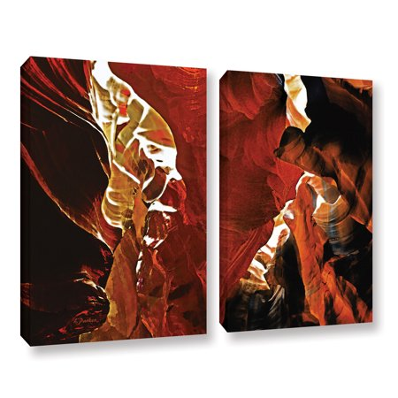 'Slot Canyon Light From Above 6' 2 Piece Gallery Wrapped Canvas Art Print Set, 18x28 ()