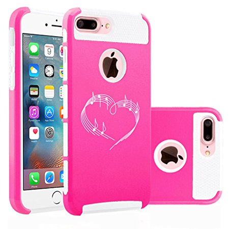 For Apple (iPhone 8 Plus) Shockproof Impact Hard Soft Case Cover Heart Love Music Notes (Hot Pink-White) - Music Note Hat