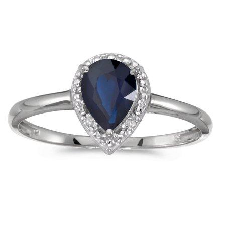 Diamond Blue Pear Sapphires Ring - 10k White Gold Pear Sapphire And Diamond Ring