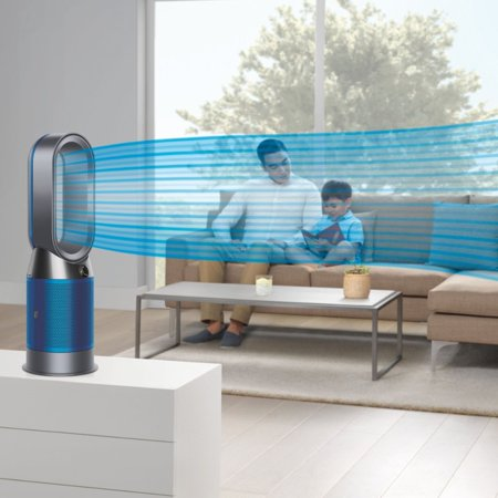 Dyson - HP04 Pure Hot + Cool 400 Sq. Ft. Smart Tower Air Purifier, Heater and Fan - Iron/Blue