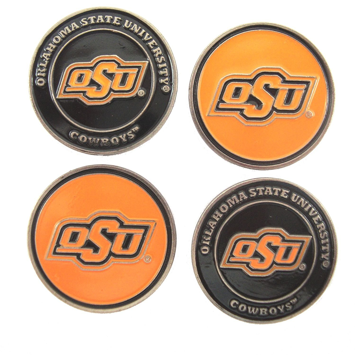 Oklahoma State Cowboys Double Sided OSU Golf Ball Markers (Set of Four), 4 Double-Sided Golf Ball Markers By Waggle Pro Shop,USA