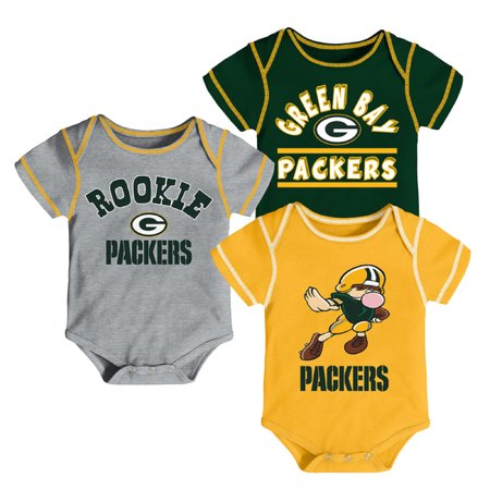 Newborn & Infant Green/Gold/Gray Green Bay Packers 3-Pack Bodysuit Set - Green Bay Packers Store