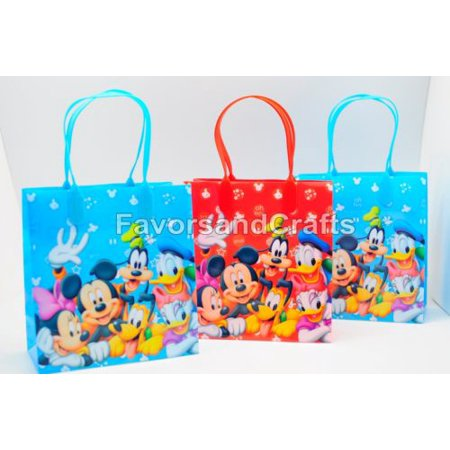 12 Mickey and Friends Party Favor Bags Birthday Candy Treat Favors Gifts Plastic Bolsas De Recuerdo for $<!---->
