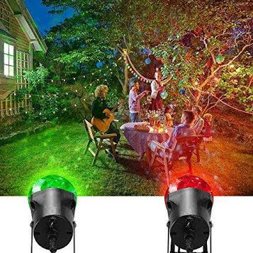 6 Pack Kaleidoscope Projector Spot Lights, Outdoor LED Rotating Light Show Crystal Ball Fire and Ice Flame Projector Waterproof for Halloween Christmas Garden Party Landscape Holiday, Red and Green