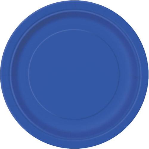 "7"" Royal Blue Dessert Plates, 24 Count"