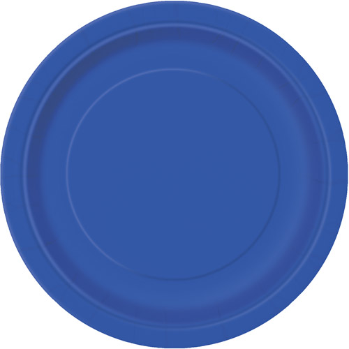 "7"" Royal Blue Dessert Plates, 24 Count"