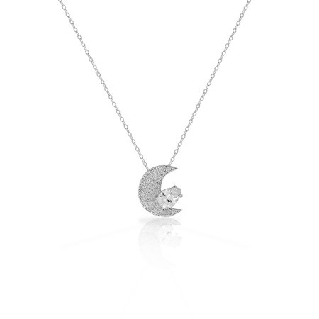 925 sterling silver clear white pear shaped cz crescent half moon 925 sterling silver clear white pear shaped cz crescent half moon pendant necklace aloadofball Images