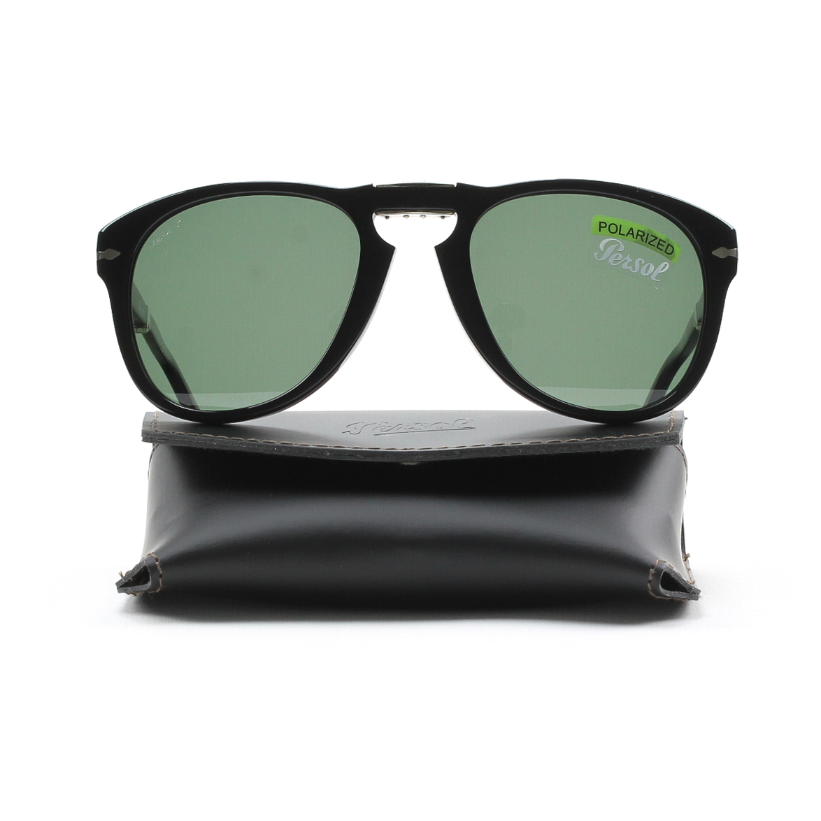 7669da9bb0b39 Persol - PO 714 95 58 54mm Shiny Black Green Polarized Folding Sunglasses -  Walmart.com