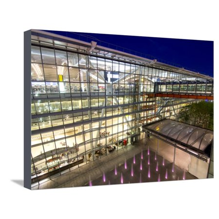 Heathrow Airport Terminal 5 Building at Dusk, London, England, United Kingdom, Europe Stretched Canvas Print Wall Art By Charles Bowman