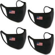 4Pcs USA Flag Print Unisex Cloth Face Mask Protect Reusable 100% Cotton Comfy Washable Made In USA Masks Covering