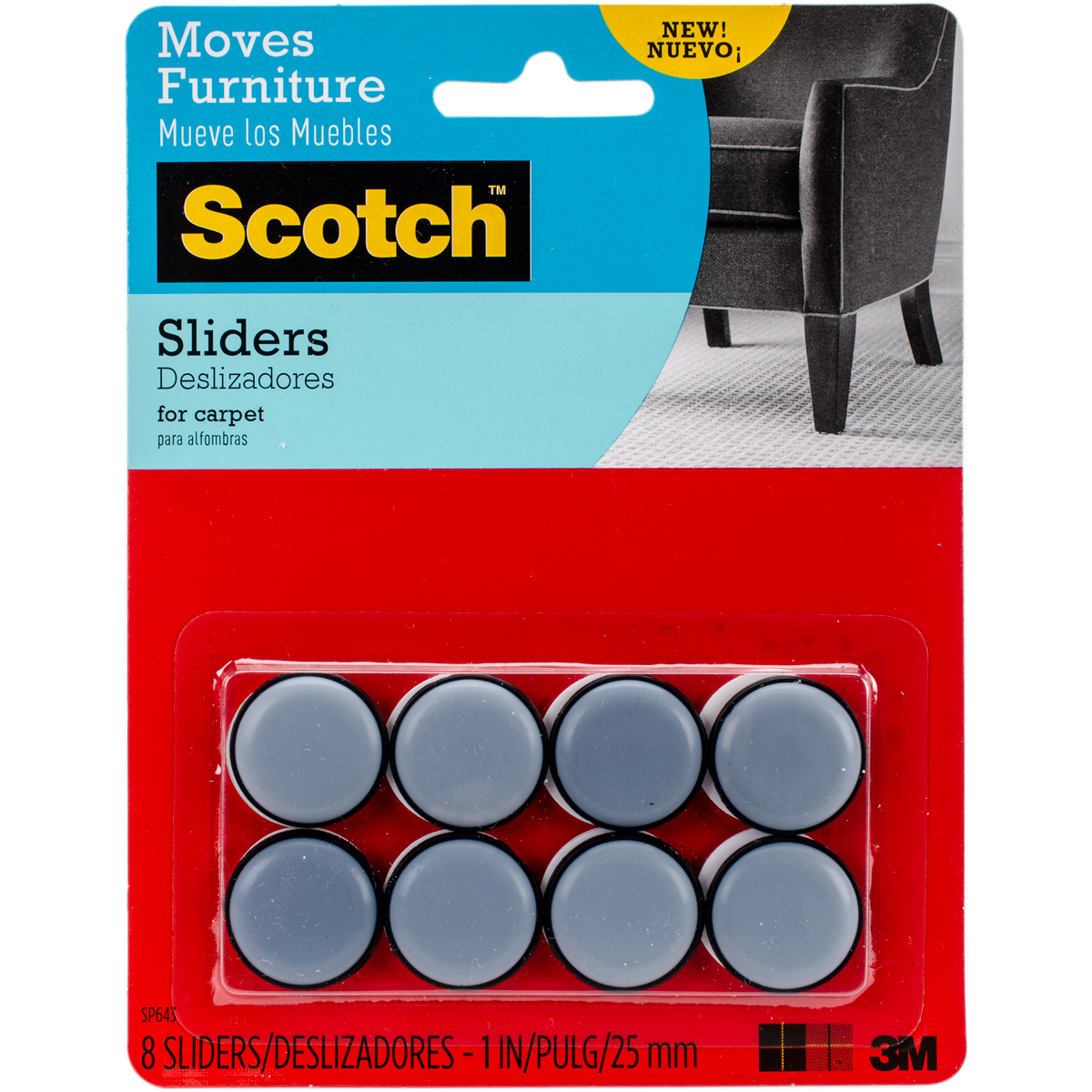 "Scotch Self-Stick Sliders 1"", 8pk"