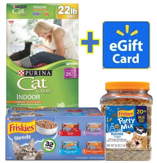 Friskies & Purina Cat Chow Food & Treats Pack with BONUS $5 Gift Card