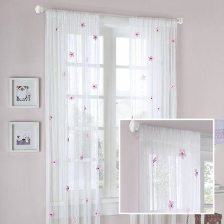 Lily All-Over Flower Curtain 84 Panel, Cream/Pink, A playful special sheer, with silk cut flowers that are attached to this net sheer By