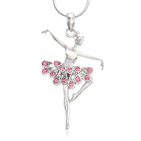 Soul Breeze Collection Light Pink Ballerina Ballet Dance Recital Necklace Pendant Chain Charm Rhinestones - Custom Necklace Charms