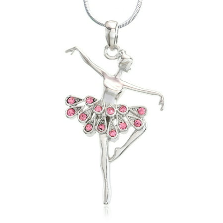 Soul Breeze Collection Light Pink Ballerina Ballet Dance Recital Necklace Pendant Chain Charm Rhinestones