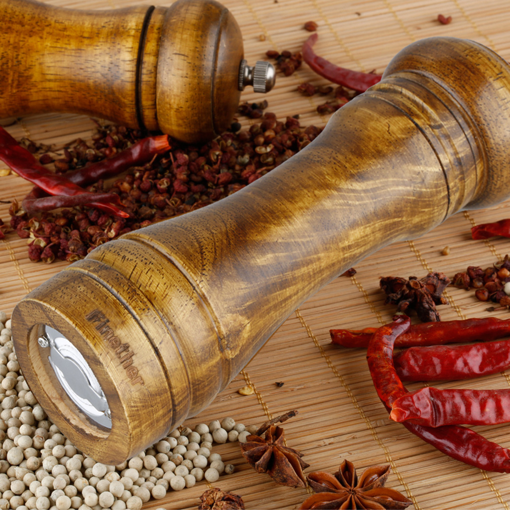 8.7 inch Adjustable Coarseness Classic Natural Wood Manual Spices Grinder, Salt and Pepper Seasoning Mill High Quality by EPC