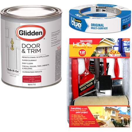Glidden Door & Trim Paint White High Gloss Interior/Exterior 1 Quart with ScotchBlue Painters Tape Original Multi-Use, .94in x 60yd(24mm x 54,8m