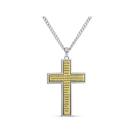 Cubic Zirconia 316L Stainless Steel Gold Ion Plating Reversible Cross Pendant Necklace, 24