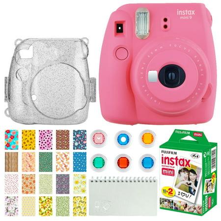 Semi Hard Camera Case - Fujifilm Instax Mini 9 Instant Camera (Flamingo Pink) + Fujifilm Instax Mini Twin Pack Instant Film (20 Exposures) + Glitter Hard Case + Colored Filters + Album (White) + Sticker Frames Nature Package