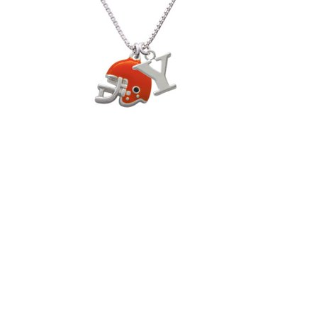 Silvertone Small Orange Football Helmet Capital Initial Y Necklace - Small Football Helmets
