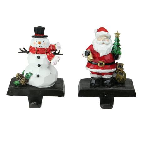 "Set of 2 Santa and Snowman Christmas Stocking Holders 7"" ()"