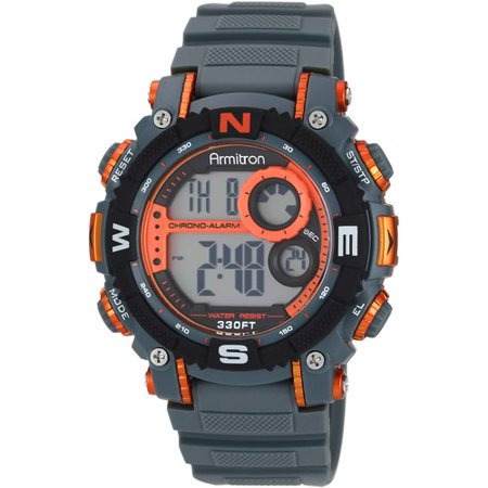Armitron Men's Digital Sport Watch, Grey and Orange, Resin Strap