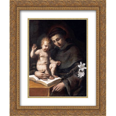 Guercino 2x Matted 20x24 Gold Ornate Framed Art Print 'St Anthony of Padua with the Infant Christ ' ()