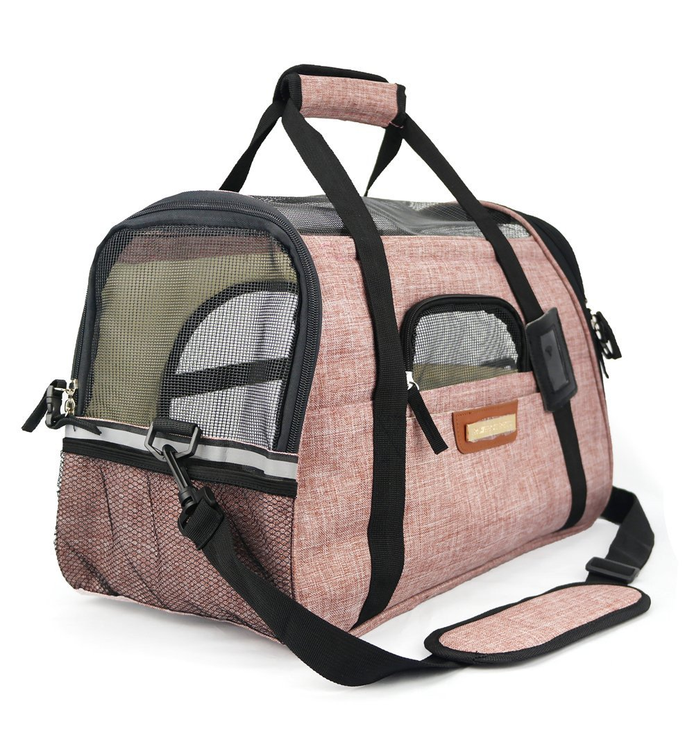 Premium Pet Travel Carrier Airline Approved Soft-Sided Comes with Two Pet Mats Perfect for Small Dogs and Cats (Blush Tan)