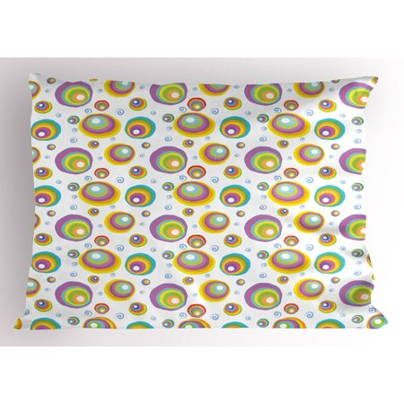 Geometric Pillow Sham Rainbow Color Palette Abstract Circles Vortexes Funky Fashion Style Illustration, Decorative Standard Size Printed Pillowcase, 26 X 20 Inches, Multicolor, by Ambesonne