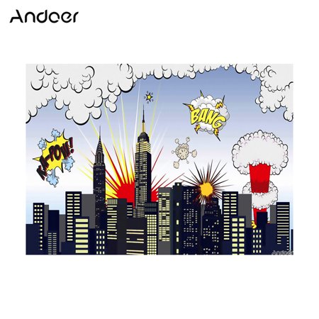 Andoer 1.5 * 2.1m/5 * 7ft Super Hero City Photography Background Baby Children Backdrop Photo Studio - Cool Superhero Backgrounds