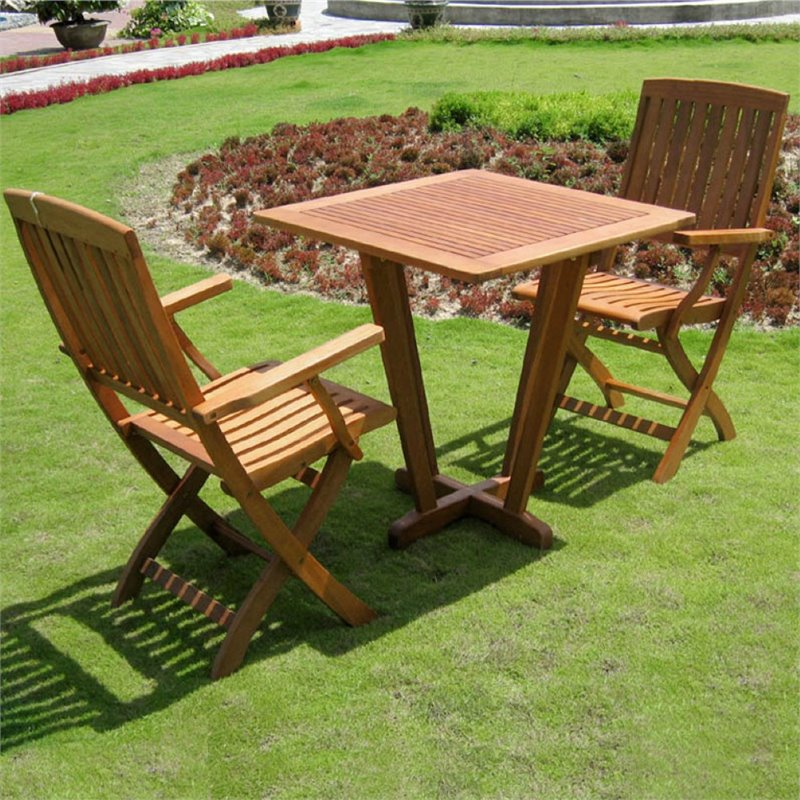 Royal Tahiti Milan 3 Piece Square Patio Bistro Set in Stain