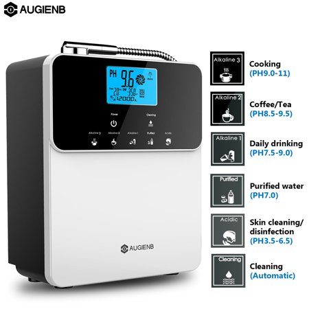 Water Purifier ,AUGIENB LCD 5 Setting Water Ionizer Filter& Machine Alkaline and Acidic Water Maker