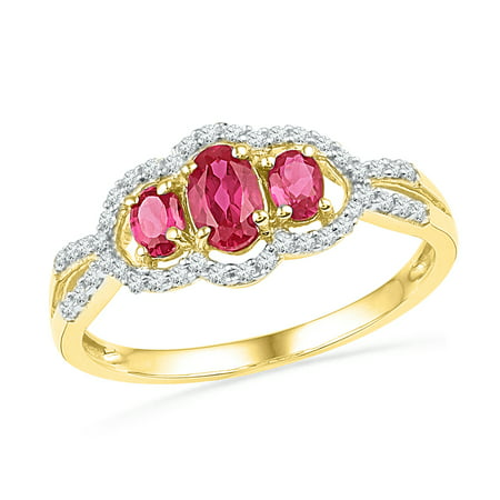 Size - 7 - Solid 10k Yellow Gold Oval Round Pink And White Diamond Engagement Ring OR Fashion Band Prong Set 3 Stone Shaped Halo Ring (1/6 cttw) - Halo Three Stone