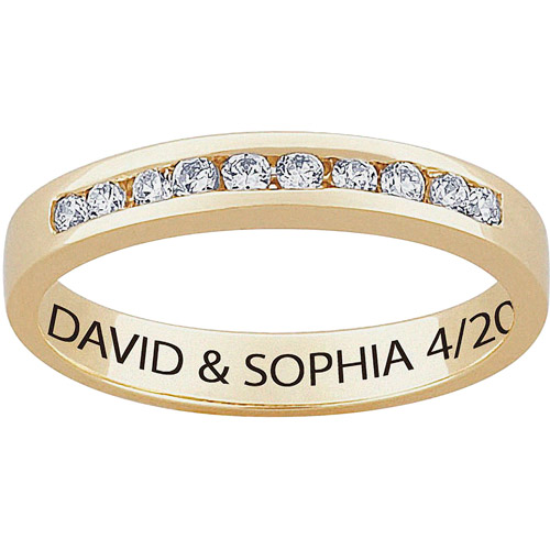 Personalized Women's CZ 10kt Gold Engraved Wedding Ring