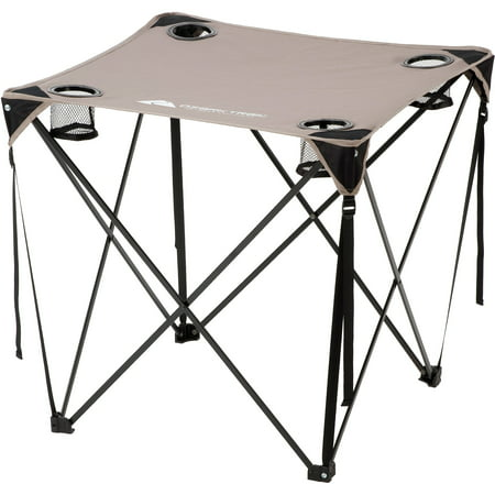 Ozark Trail Quad Folding Table with Cup Holders, Grey (Walmart Camping Table)