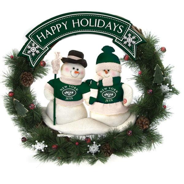 Scottish Christmas New York Jets 04198 Snowman Wreath