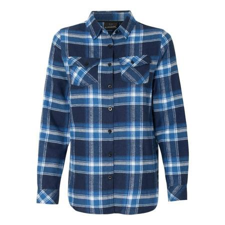 Burnside 5210 Women's Yarn-Dyed Long Sleeve Flannel Shirt - Blue/ White -