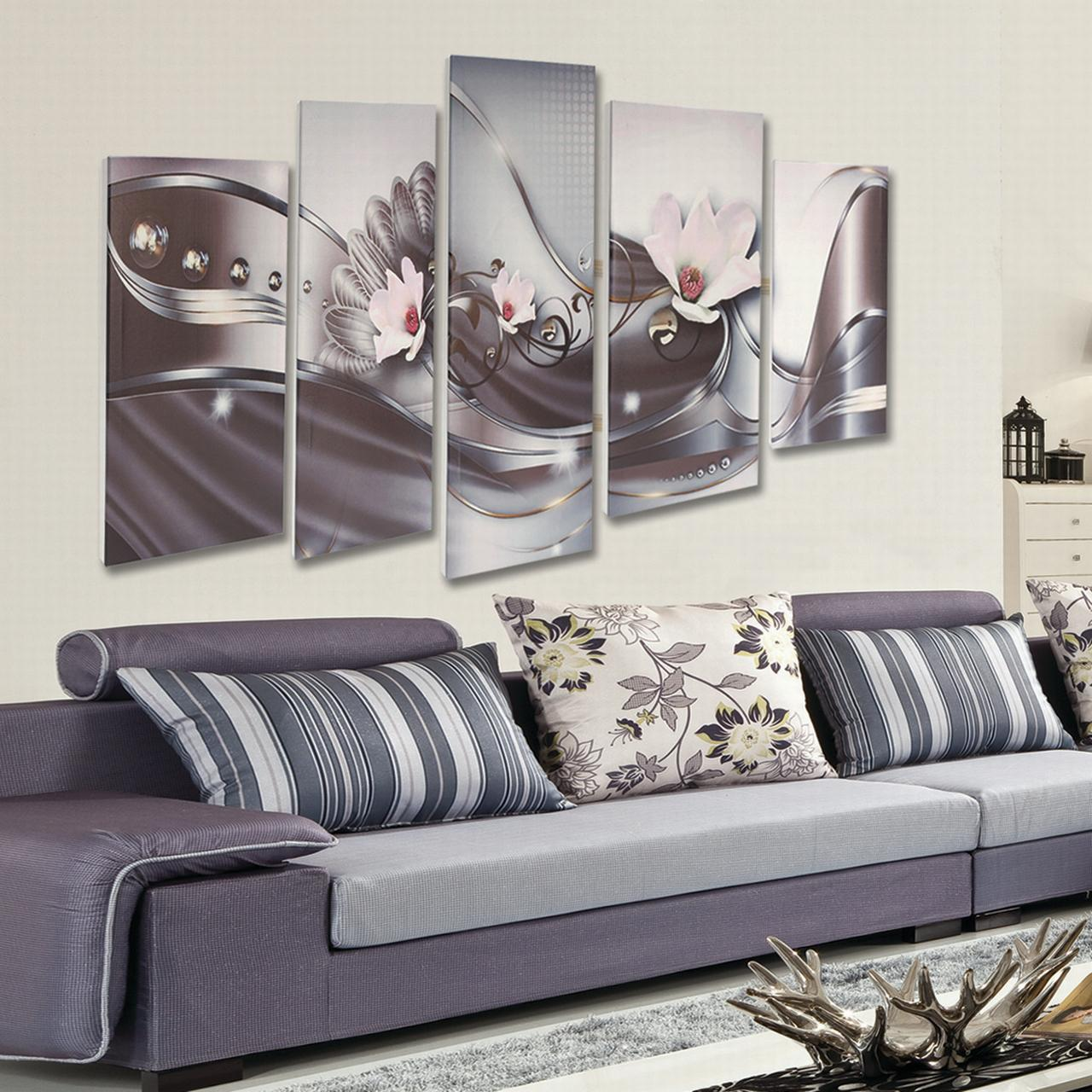 5 Panel Canvas Print Modern Picture Wall Artwork Decor Home Abstract Flower Framed by