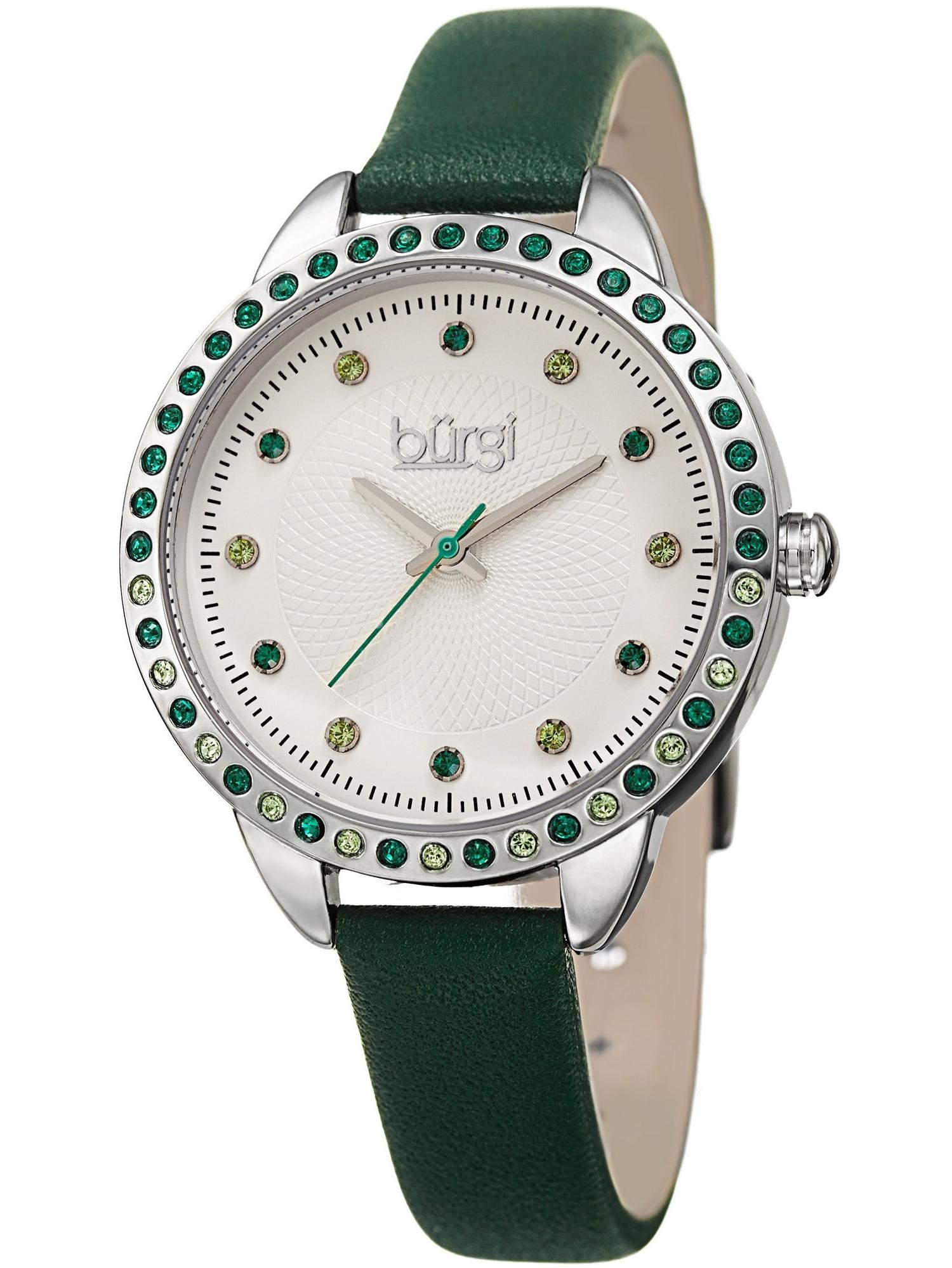 Women's Quartz Swarovski Crystal Green Leather Strap Watch with FREE Bangle