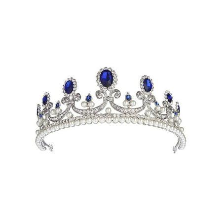 LuckyFine Princess Bridal Blue Rhinestone Crystal Hair Tiara Wedding Party Birthday Crown Veil Headband - Birthday Princess Crown