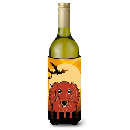 Best Red Wine For Halloween (Halloween Longhair Red Dachshund Wine Bottle Beverage Insulator Hugger)