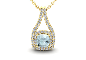 2 1 4 Carat Cushion Cut Aquamarine and Double Halo Diamond Necklace In 14 Karat Yellow Gold 18 Inches by