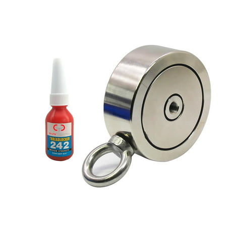 - 1,200 LBS (combined) pulling force Double Sided Round Neodymium Magnet with Eyebolt, 3.70