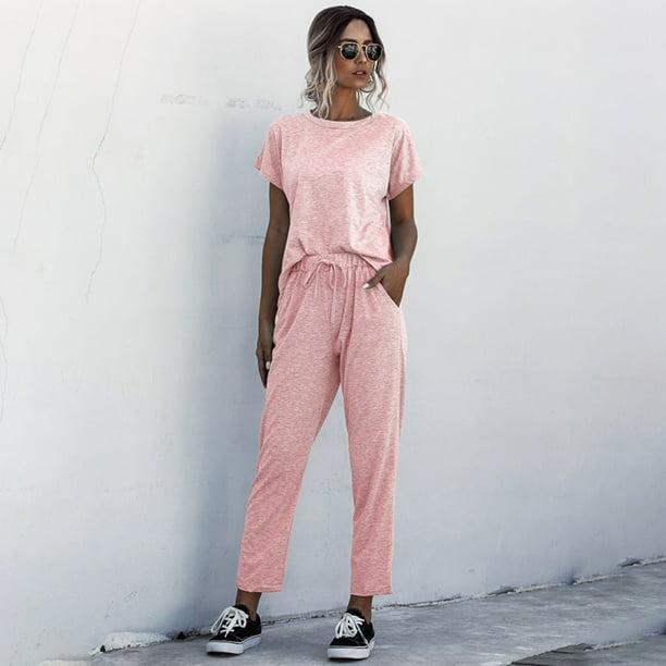 Details about  /Women One Shoulder Tracksuits Short Sleeve Tops Long Pant Bottoms Loungewear Set