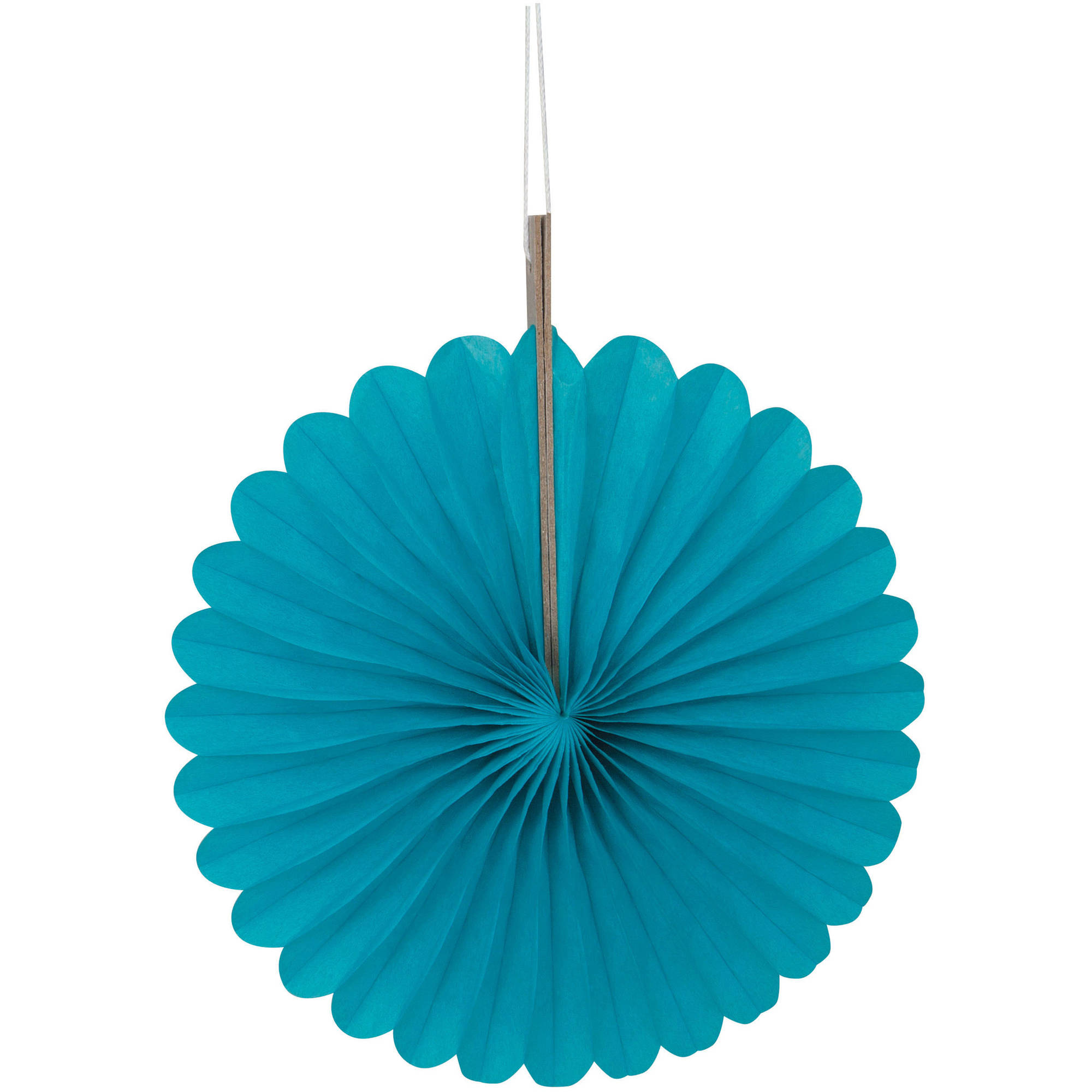 Tissue Paper Fan Decorations, 6 in, Teal, 3ct