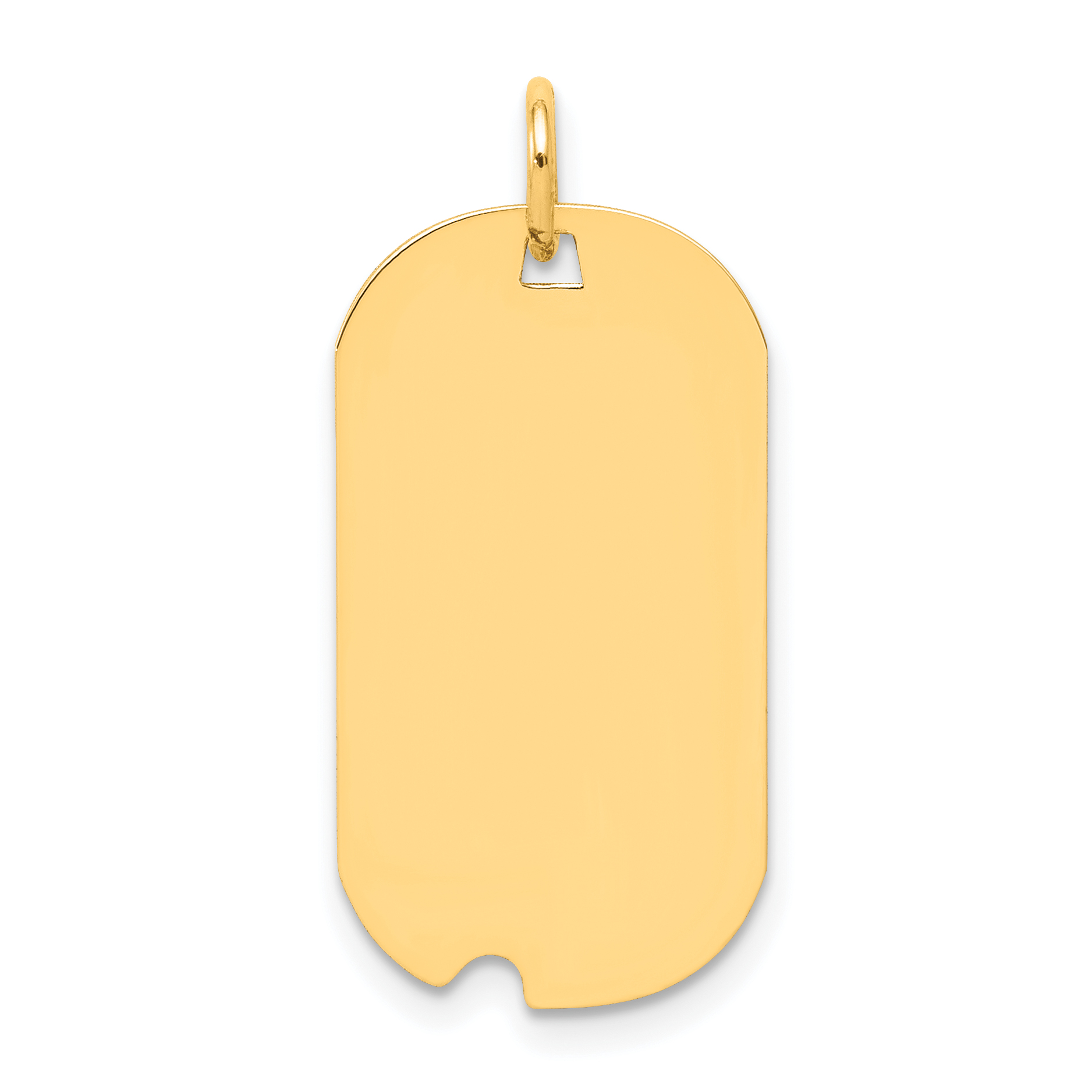 14K Yellow Gold Plain .013 Gauge Engravable Dog Tag w/Notch Disc Charm - image 2 of 2